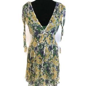Forever 21 Sheer Silk Cold Shoulder Dress Sz L